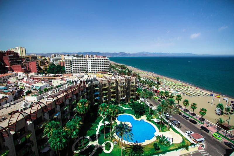 Vues panoramiques de Playamar du Melia d'hôtel, Torremolinos image libre de droits