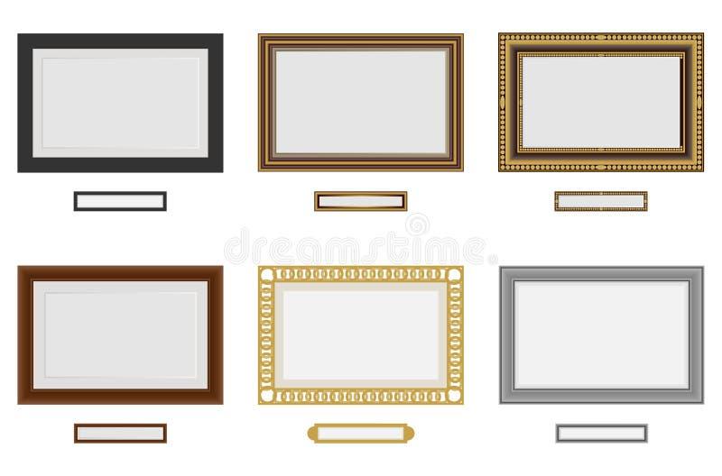 Vues pour la photo ou l'image Ensemble de cadre en bois de vecteur Vecteur de cadre de tableau sur le mur illustration libre de droits