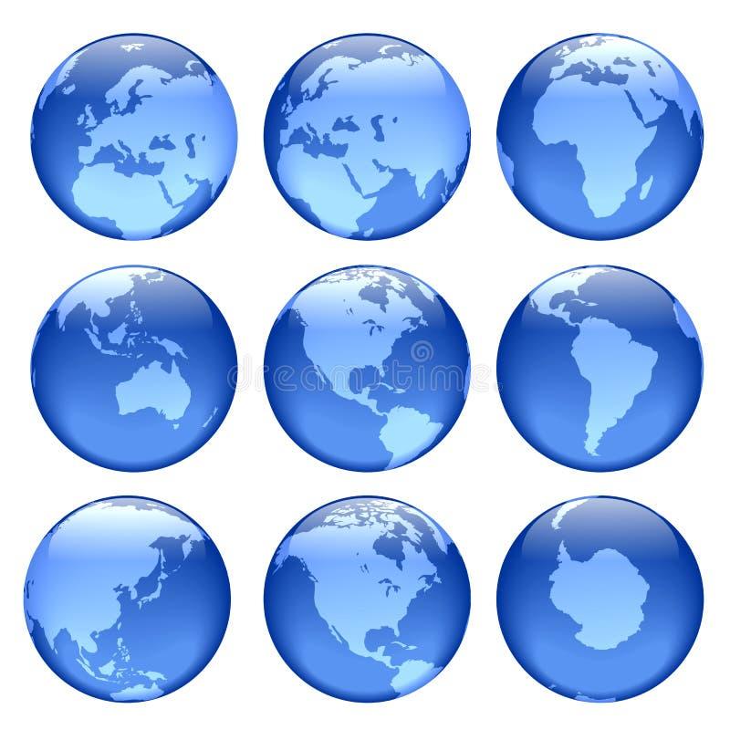 Vues rougeoyantes de globe illustration stock
