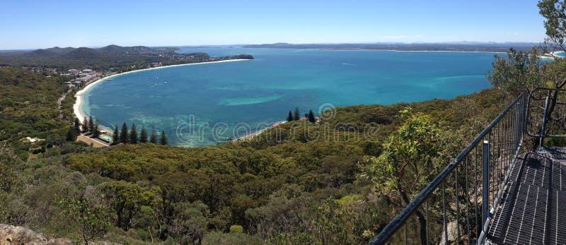 Vues scéniques de baie de banc de Mt Tomaree, Australie photos libres de droits