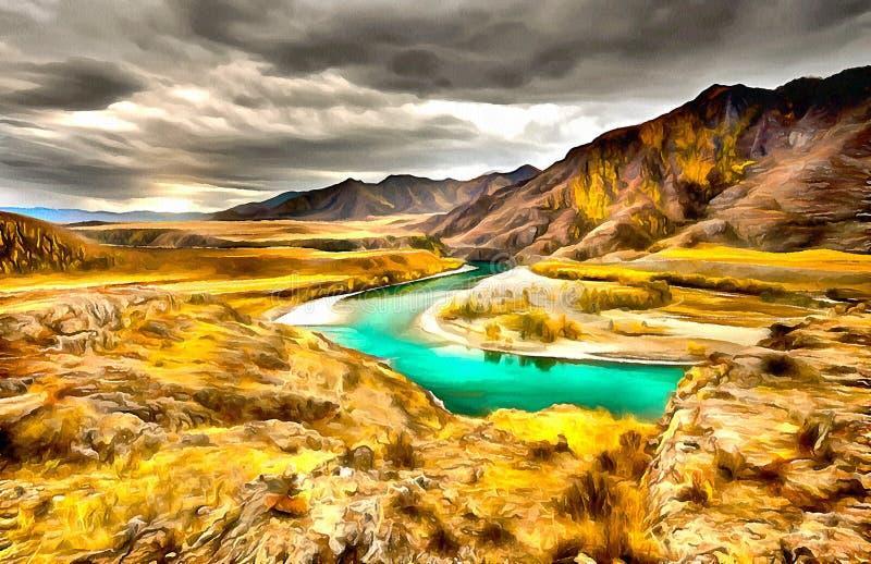 Vues spectaculaires de la rivière, du canyon et du ciel illustration libre de droits