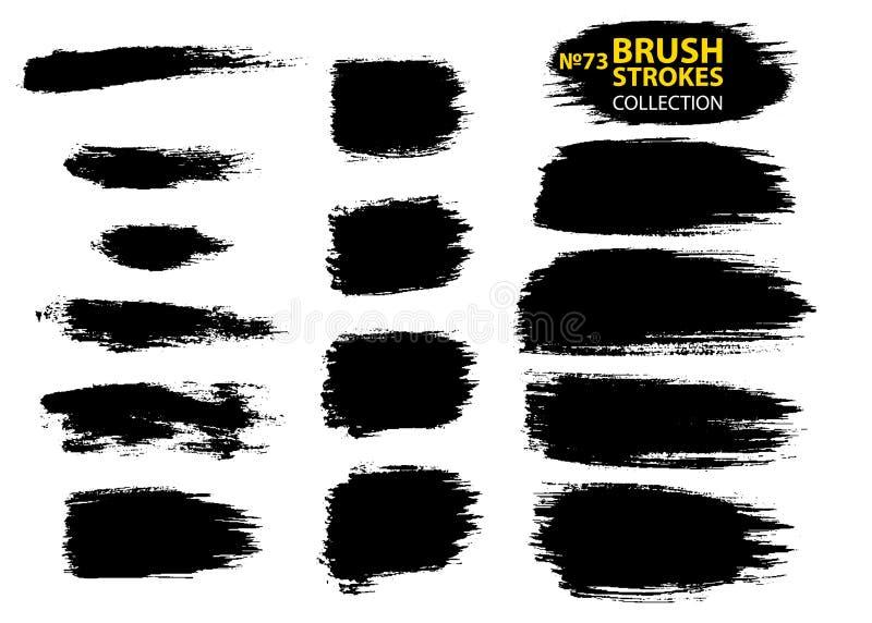 Vuile artistieke die ontwerpelementen op witte achtergrond worden geïsoleerd De zwarte slagen van de inkt vectorborstel royalty-vrije illustratie