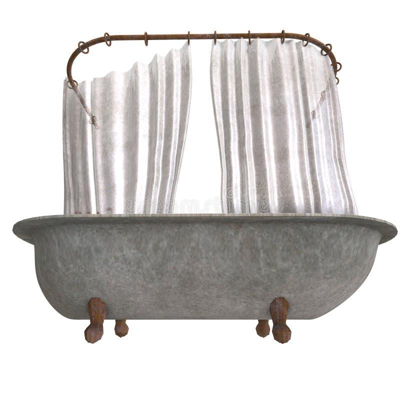 Vuile bathtube met douchegordijn vector illustratie