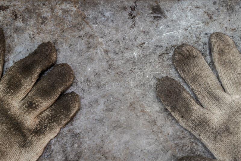Vuile de handschoenworkshop van het hulpmiddelenmanusje van alles royalty-vrije stock foto's