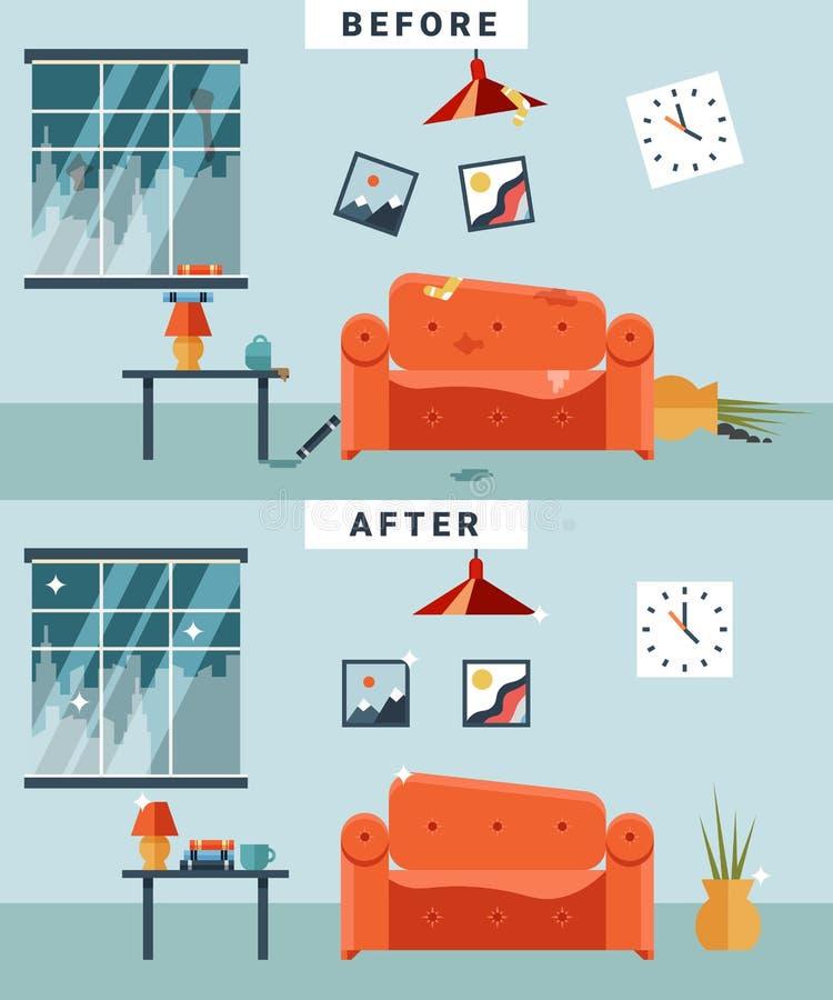 Vuile en schone ruimte stock illustratie