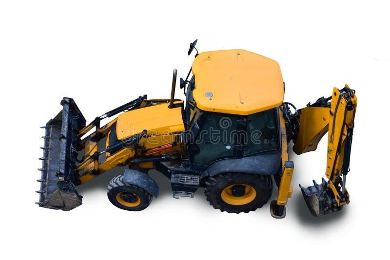 Vuile en stoffige backhoe lader, tractormening van hierboven, geïsoleerd op witte achtergrond royalty-vrije stock foto