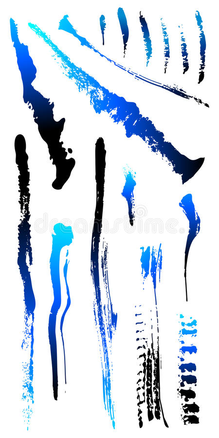 Vuile gebarsten Vormen 2 van de grungekras splat vlek stock illustratie