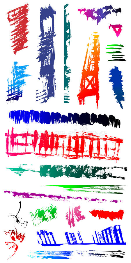 Vuile gebarsten Vormen 6 van de grungekras splat vlek stock illustratie