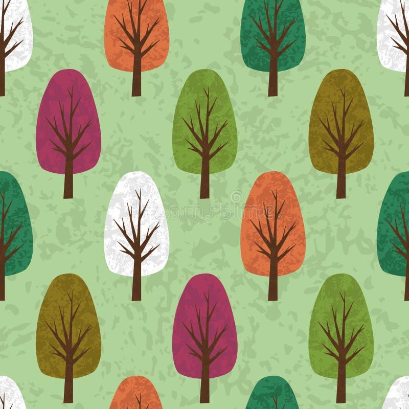 Vuile gewankelde grunge naadloze achtergrond van beeldverhaalbomen vector illustratie
