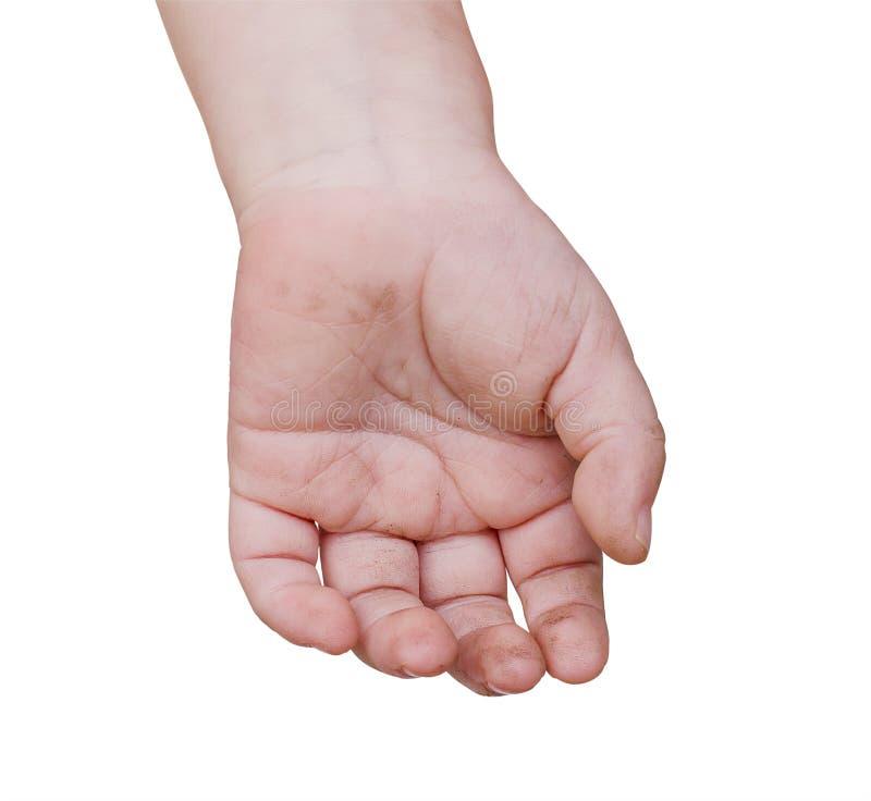 Vuile hand van een kind stock afbeelding