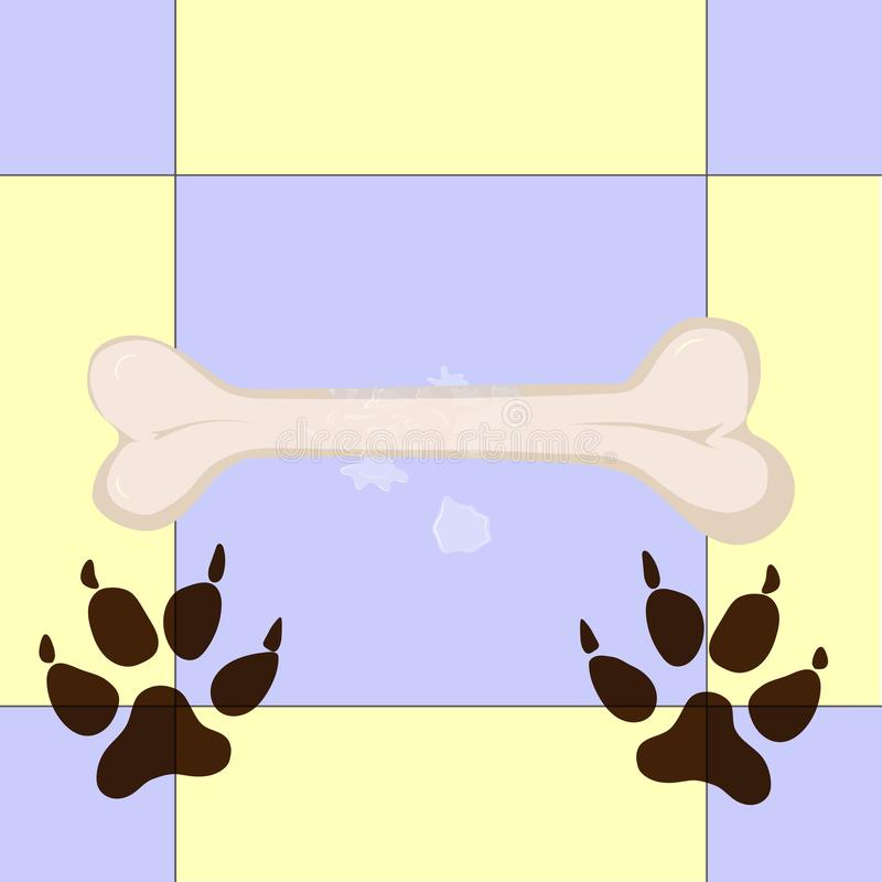 Vuile hondsporen en groot been stock illustratie
