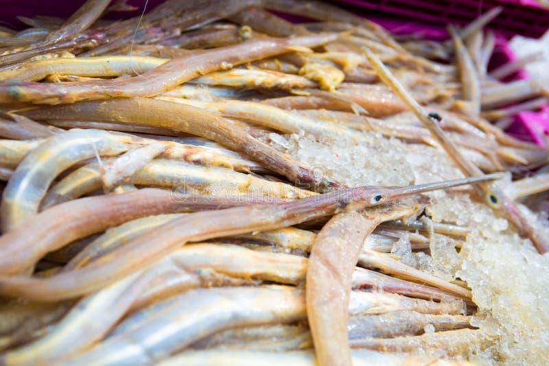 Vuile naaldvissen van vissersboten voordien aan het schoonmaken stock fotografie