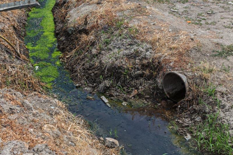 Vuile riolering samen met riolering in een open sloot langs de straat Vuile drainage, een open rioolcollector hier met giftige al royalty-vrije stock fotografie