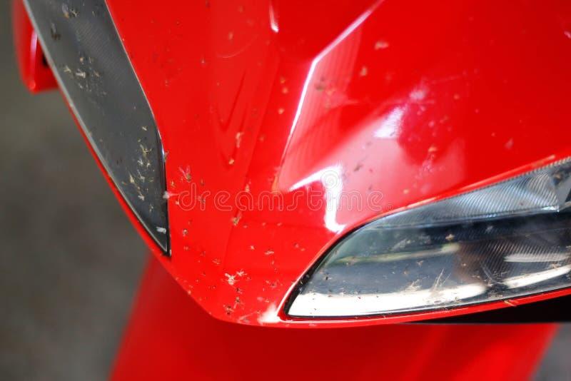 Vuile rode sportenfiets Motorfiets in dode vliegen Sportbike na het ras stock foto