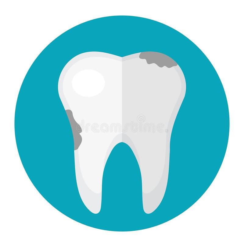 Vuile tand, bederf Pictogram vlakke stijl Tandheelkunde, tandartsconcept Geïsoleerdj op witte achtergrond Vector illustratie stock illustratie
