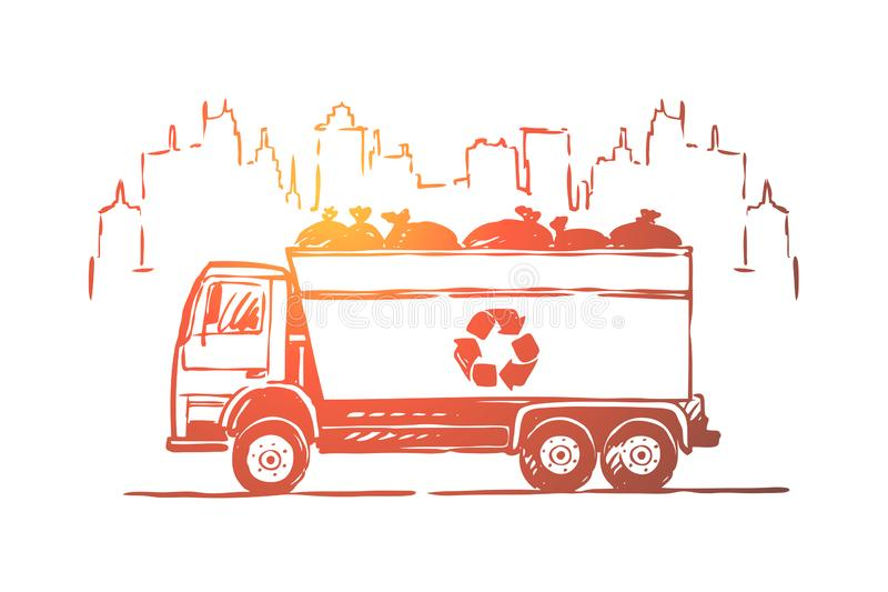 Vuilnisauto, vrachtwagen, auto met draagstoelzakken, nul afval, ecologiebehoud, verontreinigingspreventie vector illustratie