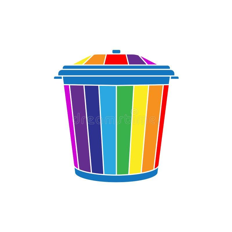 Vuilnisbak in de vorm van een regenboog vector illustratie