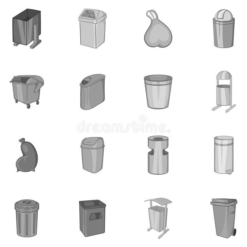 Vuilnisbak en kringloop geplaatste bakpictogrammen vector illustratie