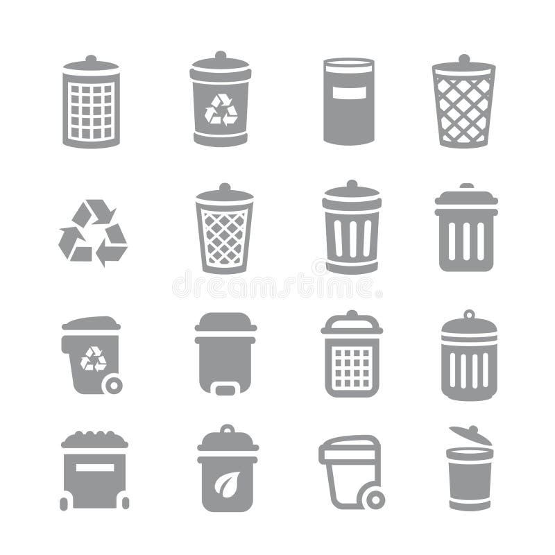 Vuilnisbak en kringloopbakpictogrammen Het huisvuil en het vuilnis, maken schoon en verspillen, vector illustratie