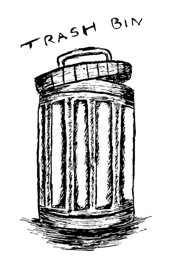 Vuilnisbak met afval wordt gevuld dat vector illustratie