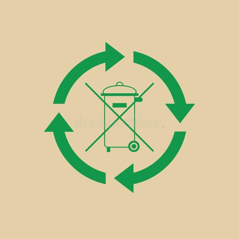 Vuilnisbak met Kringloopsymbool Groene Pijlen Logo Web Icon royalty-vrije illustratie