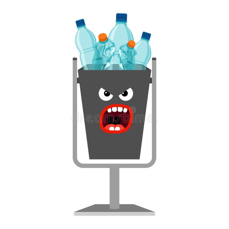 Vuilnisbak met plastic afval vector illustratie