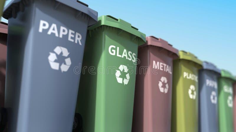 Vuilnisbakken voor het sorteren van document, glas, metaal en plastic huisvuil het 3d teruggeven vector illustratie