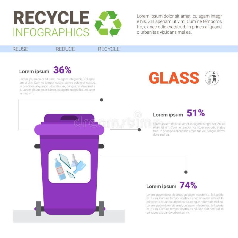 Vuilniscontainer voor Concept van het de Banner het Kringloop Sorterende Huisvuil van Infographic van het Glasafval stock illustratie