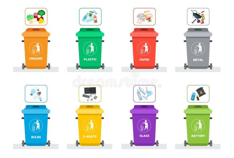 Vuilniscontainer voor het Sorterende van het de Reeks Kringloophuisvuil van het Afvalpictogram Concept Logo Collection royalty-vrije illustratie