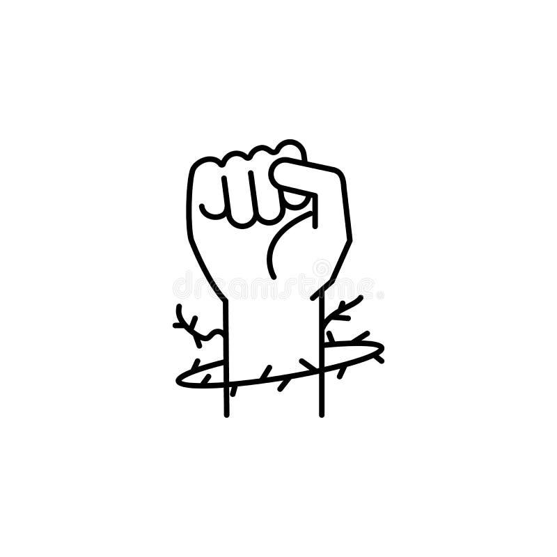 vuist en doornenpictogram Element van vredespictogram voor mobiel concept en Web apps De dunne lijnvuist en het doornenpictogram  stock illustratie