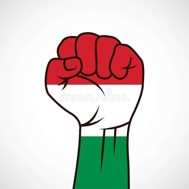 Vuist met de Hongaarse vlag stock afbeeldingen
