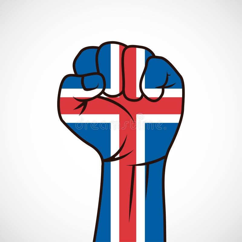 Vuist met de vlag van IJsland stock foto