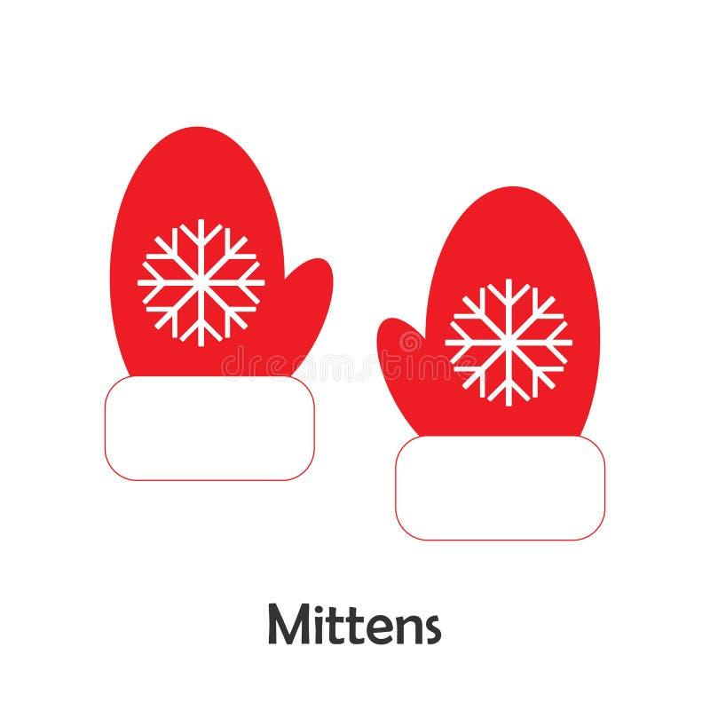 Vuisthandschoenen in beeldverhaalstijl, Kerstmiskaart voor jong geitje, peuteractiviteit voor kinderen, vectorillustratie royalty-vrije illustratie