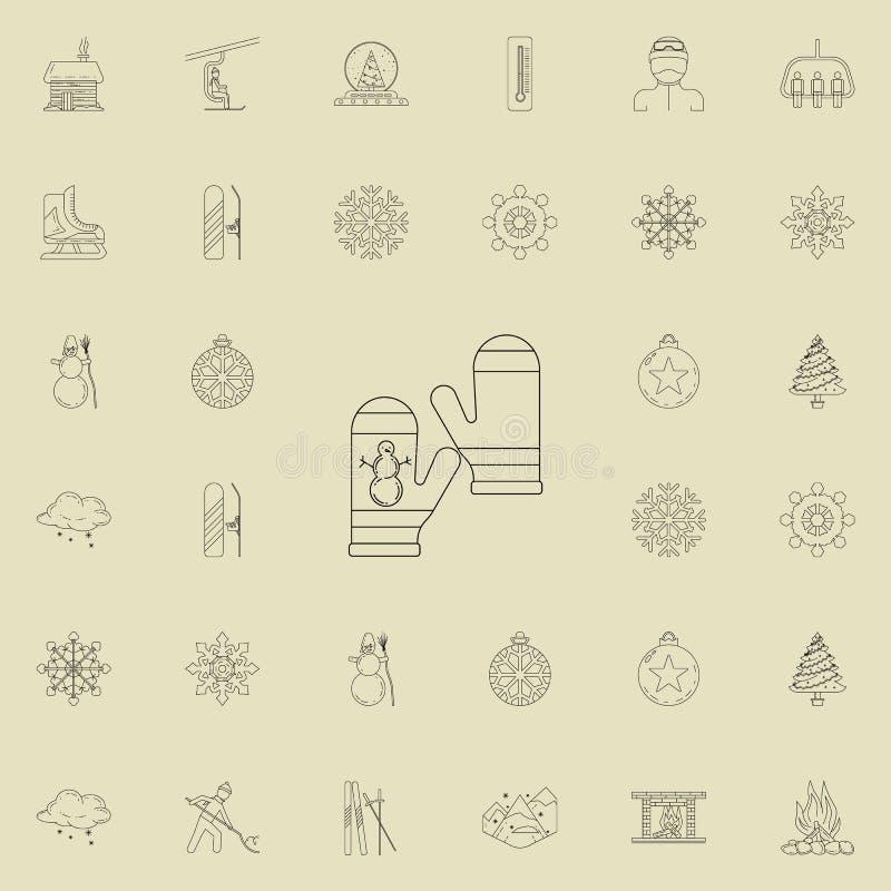 vuisthandschoenen met een beeld van een sneeuwmanpictogram Gedetailleerde reeks de Winterpictogrammen Grafisch het ontwerpteken v royalty-vrije illustratie