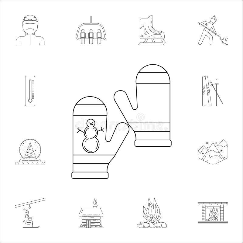 vuisthandschoenen met een beeld van een sneeuwmanpictogram Voor Web wordt geplaatst dat en het mobiele algemene begrip van de win royalty-vrije illustratie