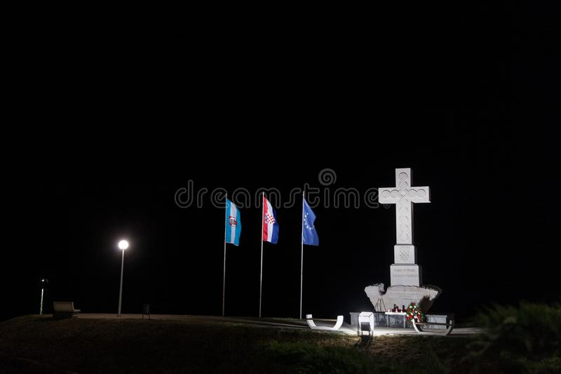 Moument dedicated to the defenders of Vukovar in the Homeland war of 1991-1995, made of a Christian cross stock photo
