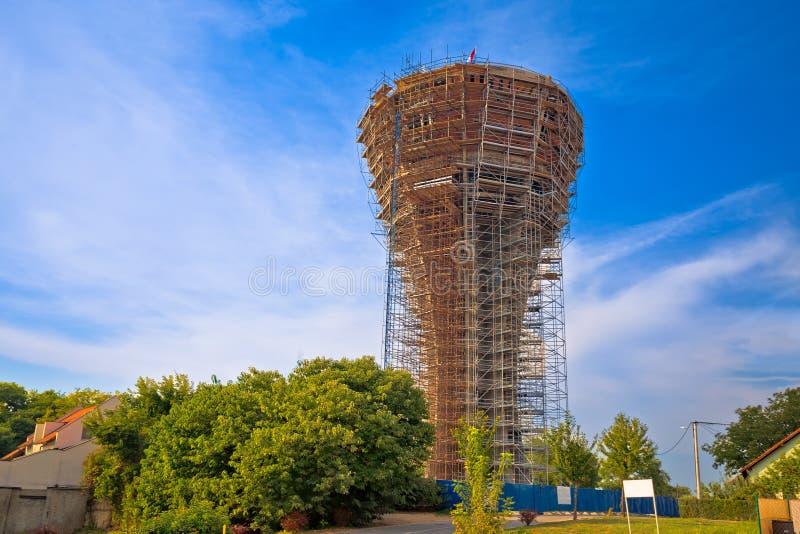 Vukovar wieża ciśnień pod odbudową zdjęcie stock