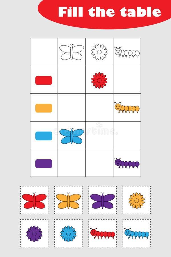 Vul de lijst met kleurrijke de lentebeelden voor kinderen, het spel van het pretonderwijs voor jonge geitjes, peuteraantekenvelac stock illustratie