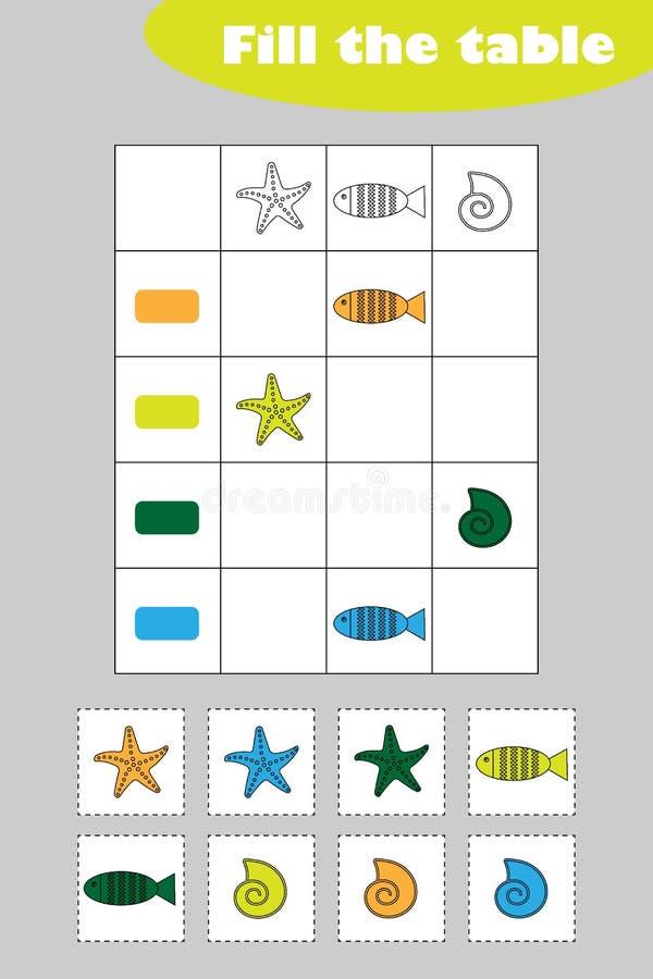 Vul de lijst met kleurrijke mariene beelden voor kinderen, het spel van het pretonderwijs voor jonge geitjes, peuteraantekenvelac stock illustratie