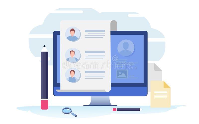 Vul een vorm in Online toepassing onderzoek, gesprek, baan De vlakke grafische vector van de beeldverhaalillustratie royalty-vrije illustratie