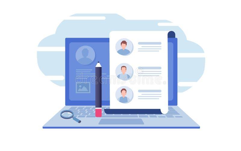 Vul een vorm in Online toepassing onderzoek, gesprek, baan, document, laptop De vlakke grafische vector van de beeldverhaalillust royalty-vrije illustratie