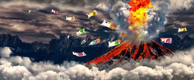 Vulcão com dinheiro ardente