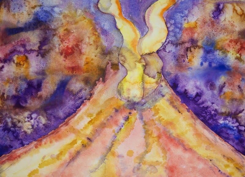 Vulcão com duas penas do fumo ilustração do vetor
