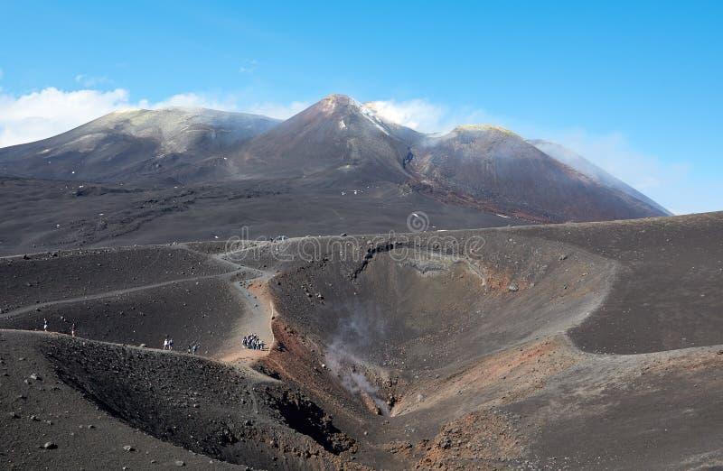Vulcão de Etna da montagem na ação imagens de stock