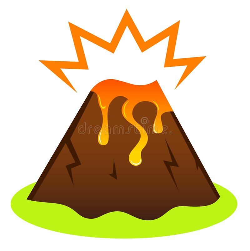 Vulcão de Explosing com lava ilustração do vetor
