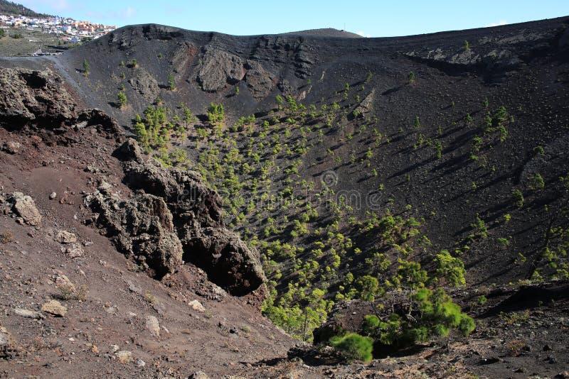 Vulcão de Teneguia no La Palma Island, Espanha imagens de stock