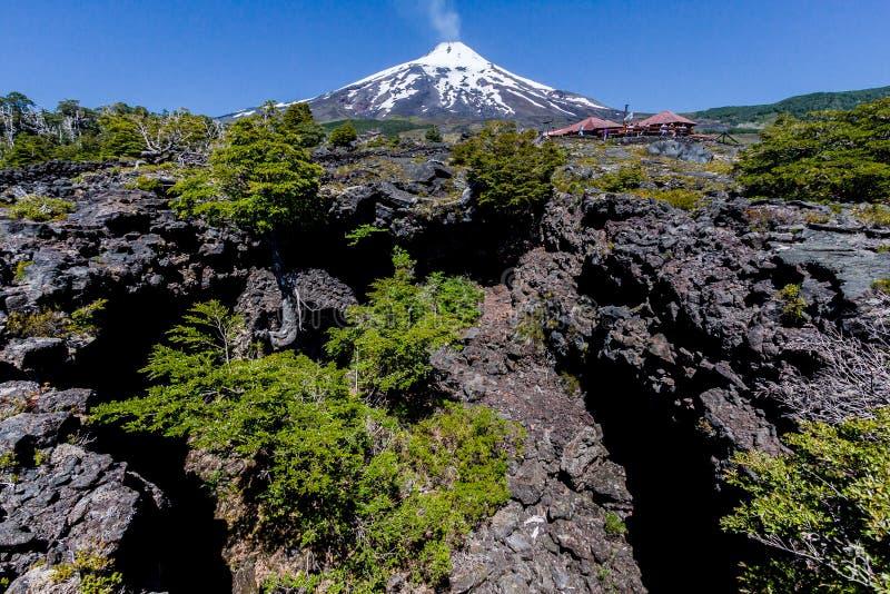 Vulcão de Villarica no Chile fotografia de stock