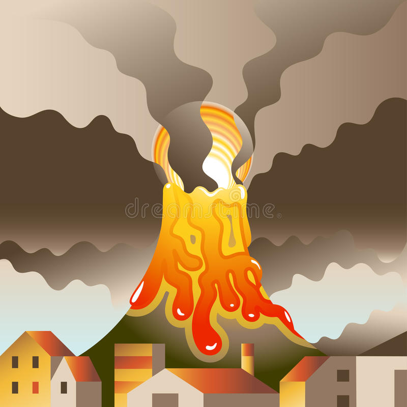 Vulcão despertado ilustração do vetor