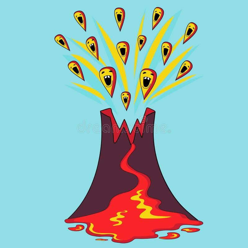 Vulcão engraçado ilustração stock