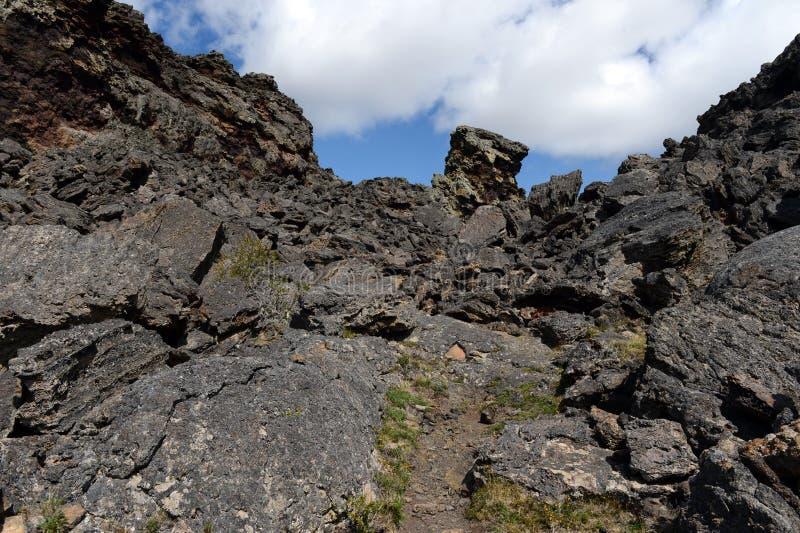 Vulcão extinto o domicílio do diabo no parque nacional Pali Aike fotografia de stock